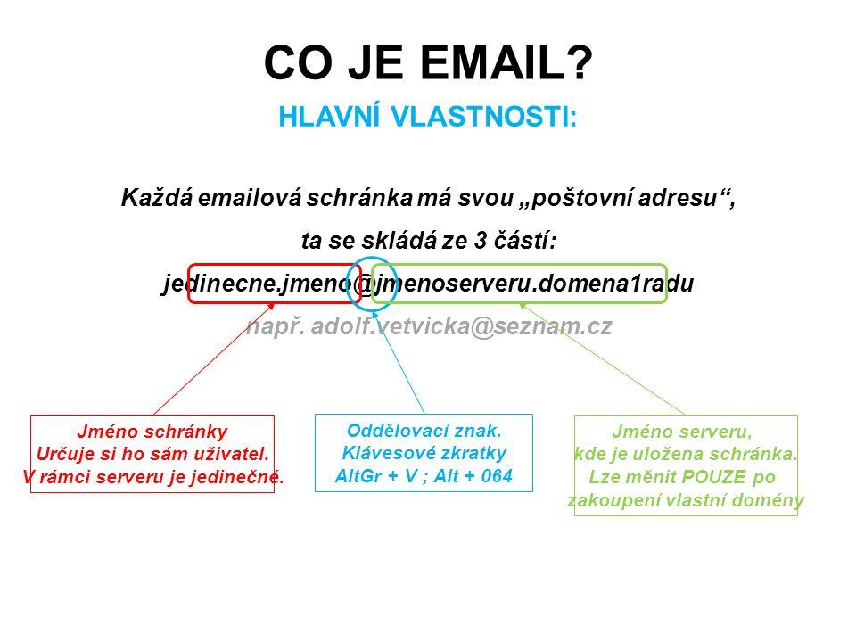 """Každá emailová schránka má svou """"poštovní adresu"""", ta se skládá ze 3 částí: jedinecne.jmeno@jmenoserveru.domena1radu např. adolf.vetvicka@seznam.cz CO"""