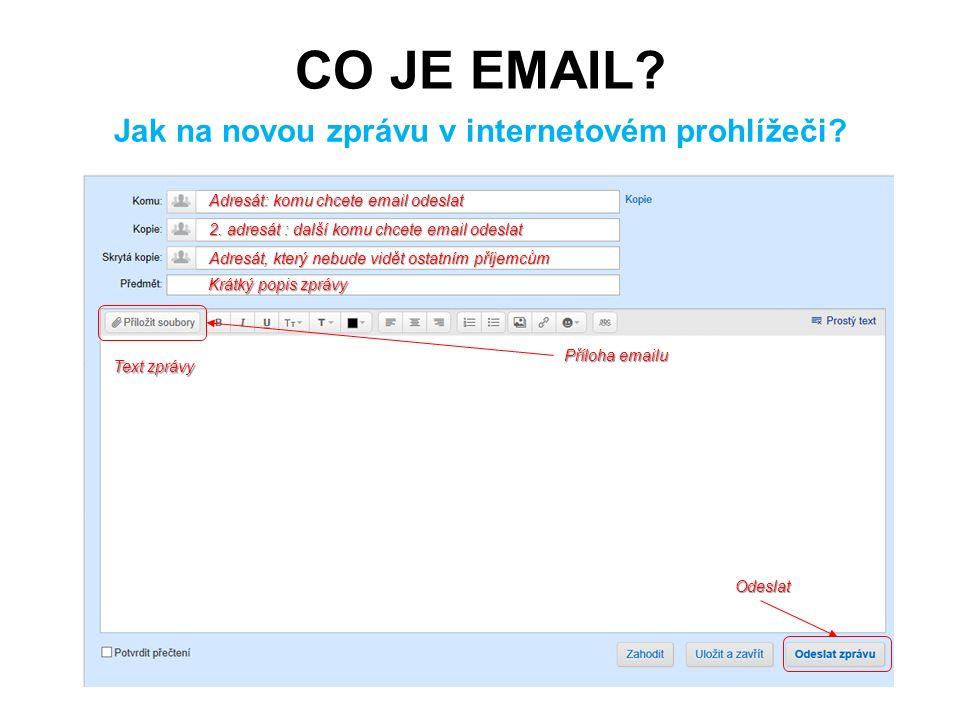 CO JE EMAIL? Jak na novou zprávu v internetovém prohlížeči? Adresát: komu chcete email odeslat 2. adresát : další komu chcete email odeslat Adresát, k