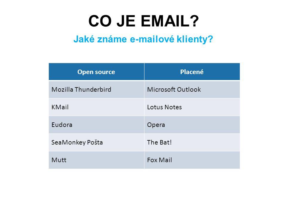 CO JE EMAIL? Jaké známe e-mailové klienty? Open sourcePlacené Mozilla ThunderbirdMicrosoft Outlook KMailLotus Notes EudoraOpera SeaMonkey PoštaThe Bat