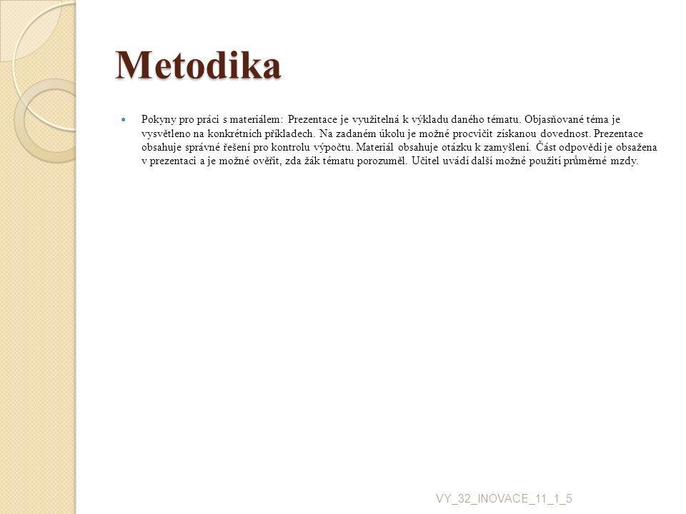Metodika Pokyny pro práci s materiálem: Prezentace je využitelná k výkladu daného tématu. Objasňované téma je vysvětleno na konkrétních příkladech. Na