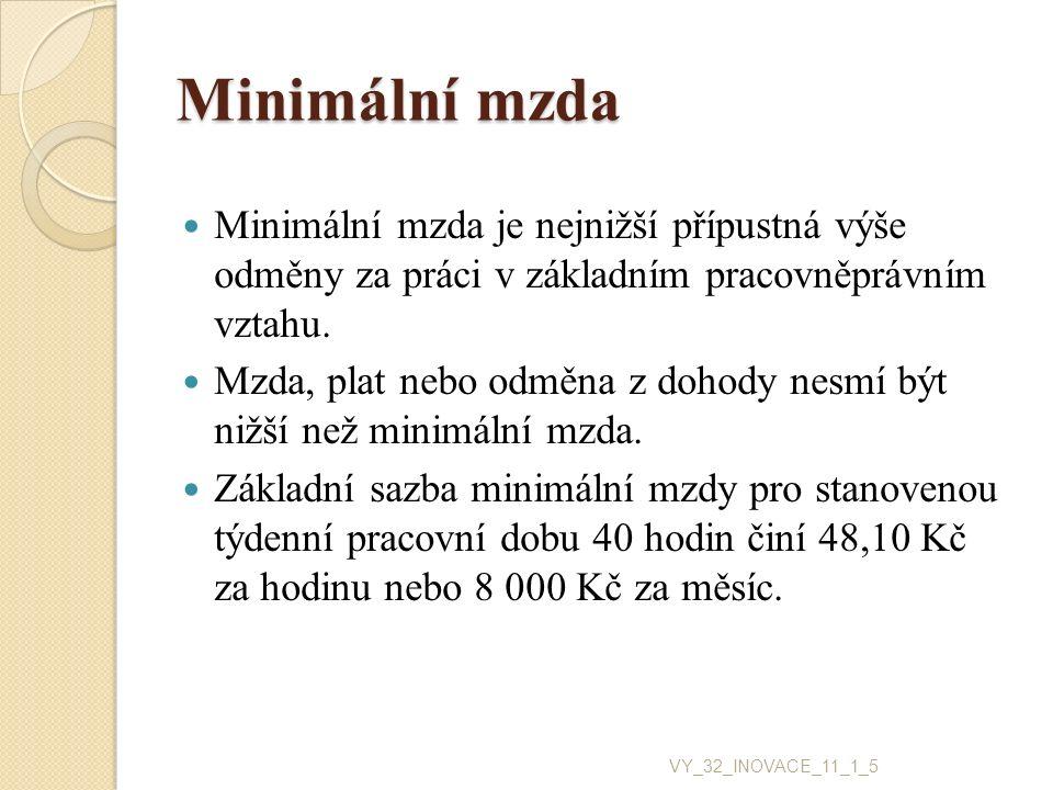 Minimální mzda Minimální mzda je nejnižší přípustná výše odměny za práci v základním pracovněprávním vztahu. Mzda, plat nebo odměna z dohody nesmí být