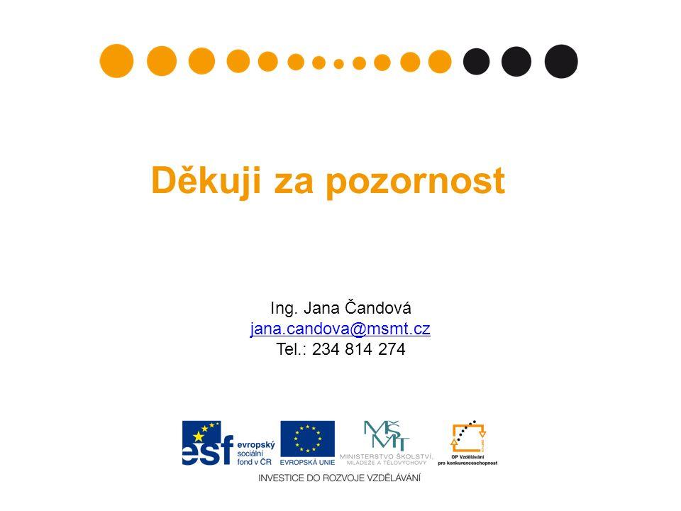 Děkuji za pozornost Ing. Jana Čandová jana.candova@msmt.cz Tel.: 234 814 274 jana.candova@msmt.cz