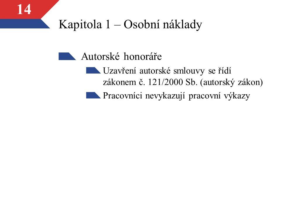 14 Kapitola 1 – Osobní náklady Autorské honoráře Uzavření autorské smlouvy se řídí zákonem č.