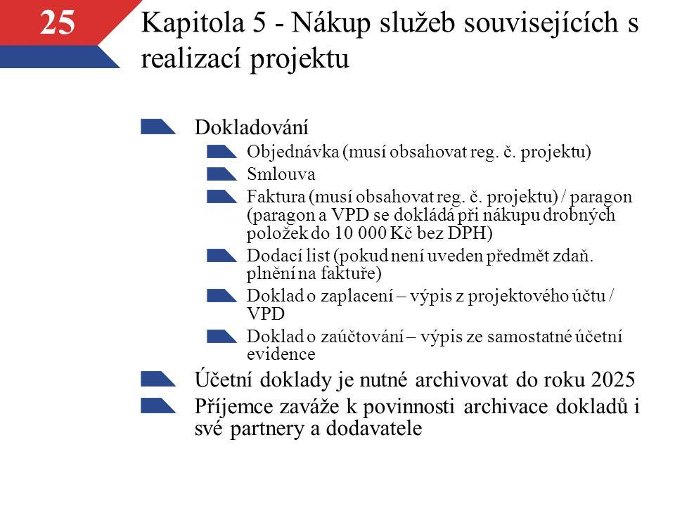 25 Kapitola 5 - Nákup služeb souvisejících s realizací projektu Dokladování Objednávka (musí obsahovat reg.