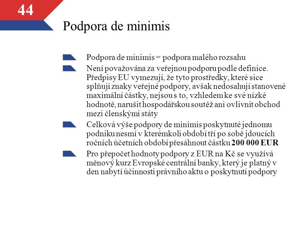 44 Podpora de minimis Podpora de minimis = podpora malého rozsahu Není považována za veřejnou podporu podle definice.