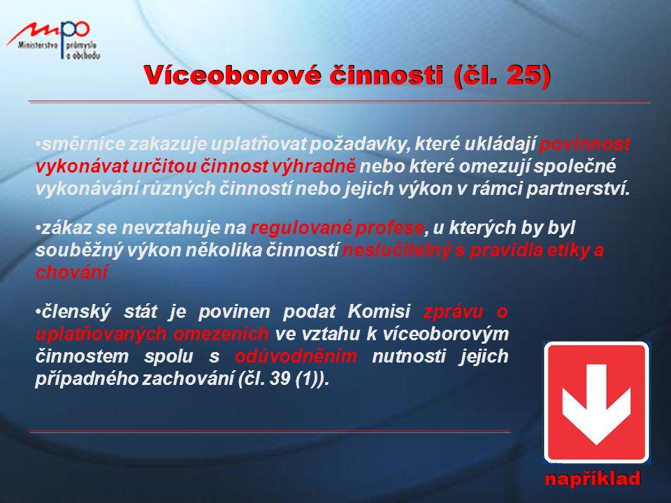 Víceoborové činnosti (čl. 25) například směrnice zakazuje uplatňovat požadavky, které ukládají povinnost vykonávat určitou činnost výhradně nebo které