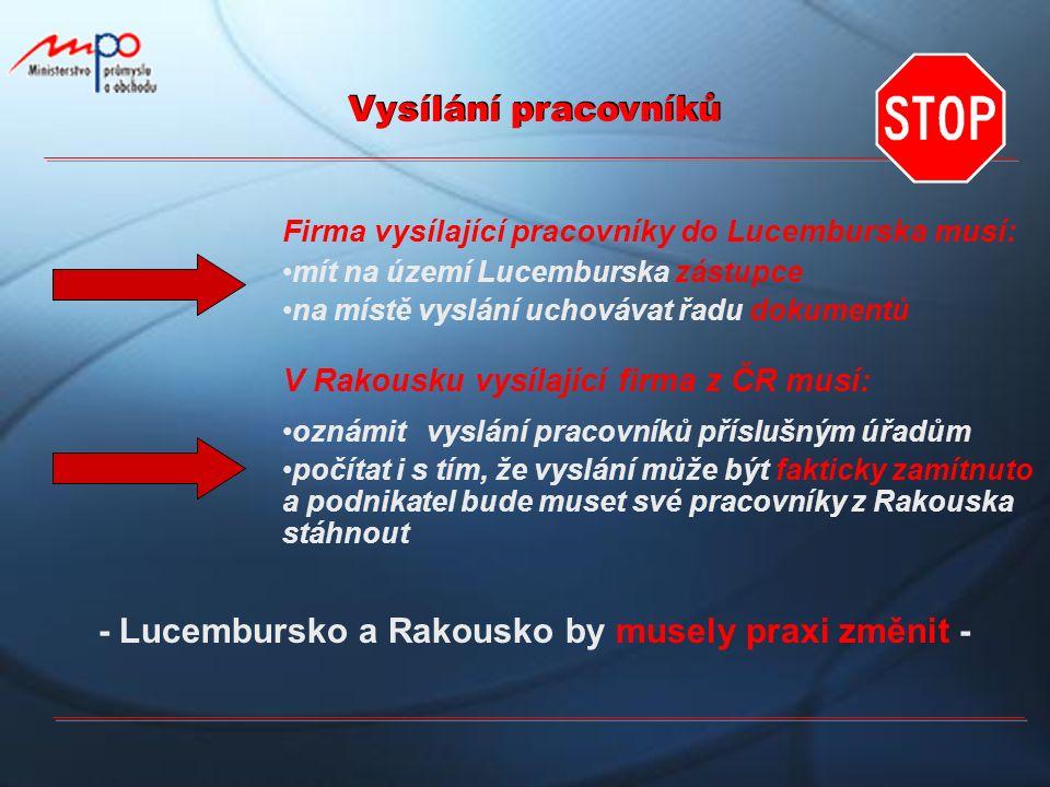 Vysílání pracovníků Firma vysílající pracovníky do Lucemburska musí: mít na území Lucemburska zástupce na místě vyslání uchovávat řadu dokumentů V Rak