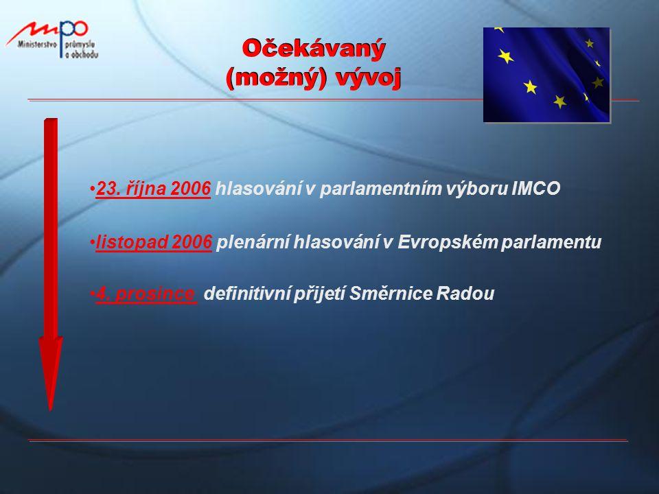 Očekávaný (možný) vývoj 23. října 2006 hlasování v parlamentním výboru IMCO listopad 2006 plenární hlasování v Evropském parlamentu 4. prosince defini
