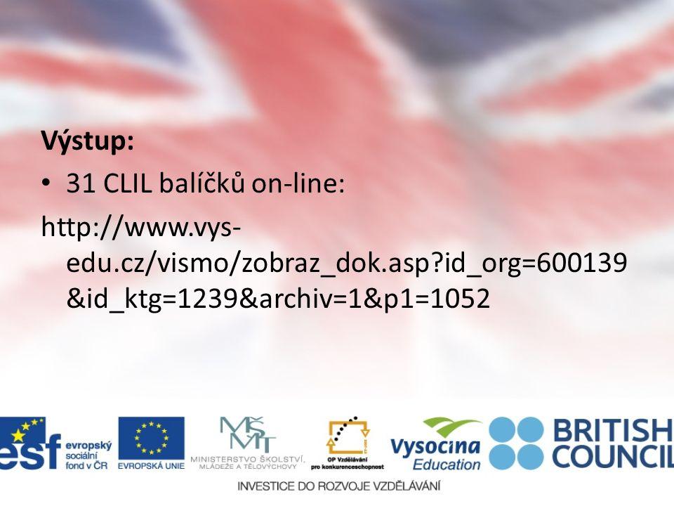 Výstup: 31 CLIL balíčků on-line: http://www.vys- edu.cz/vismo/zobraz_dok.asp id_org=600139 &id_ktg=1239&archiv=1&p1=1052