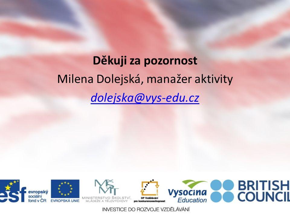 Děkuji za pozornost Milena Dolejská, manažer aktivity dolejska@vys-edu.cz