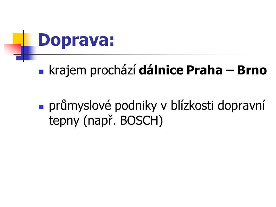 Doprava: krajem prochází dálnice Praha – Brno průmyslové podniky v blízkosti dopravní tepny (např. BOSCH)