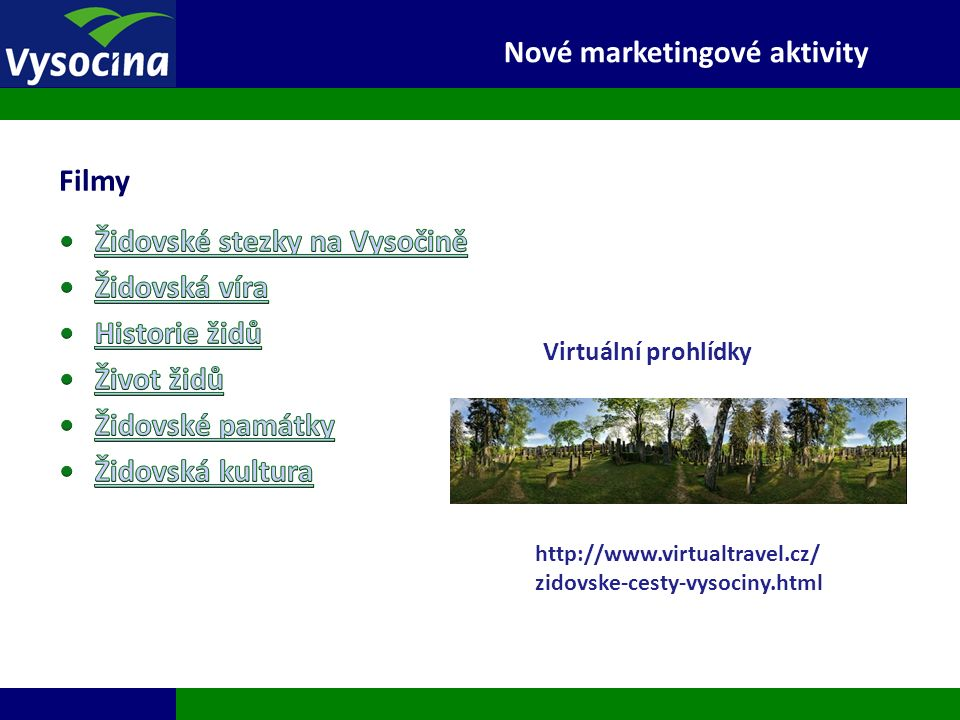 27.9.2016 14 Filmy Nové marketingové aktivity http://www.virtualtravel.cz/ zidovske-cesty-vysociny.html Virtuální prohlídky