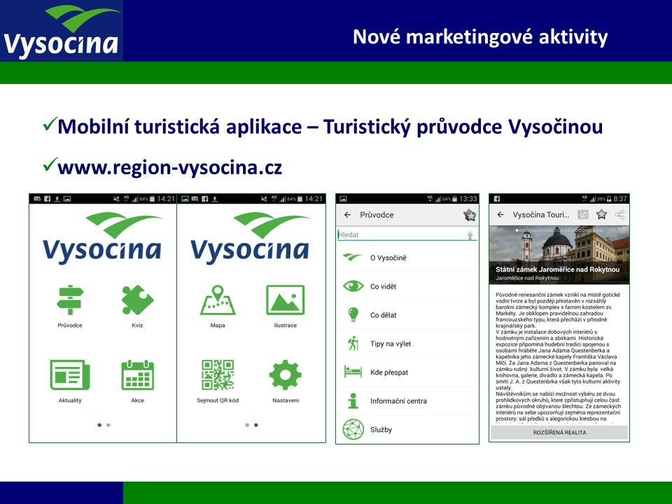 27.9.2016 15 Mobilní turistická aplikace – Turistický průvodce Vysočinou www.region-vysocina.cz Nové marketingové aktivity