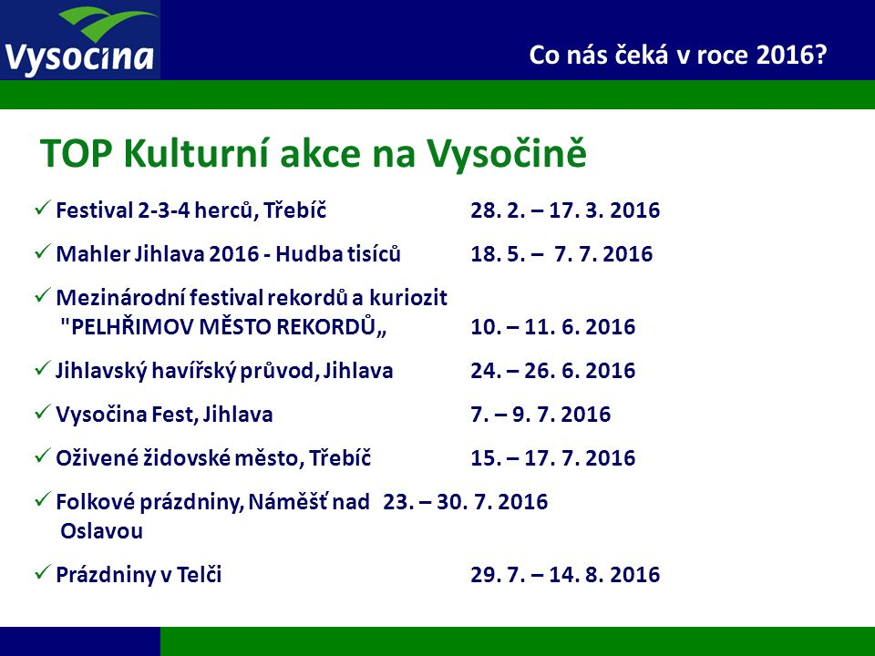 27.9.2016 20 Co nás čeká v roce 2016? Festival 2-3-4 herců, Třebíč28. 2. – 17. 3. 2016 Mahler Jihlava 2016 - Hudba tisíců18. 5. – 7. 7. 2016 Mezinárod