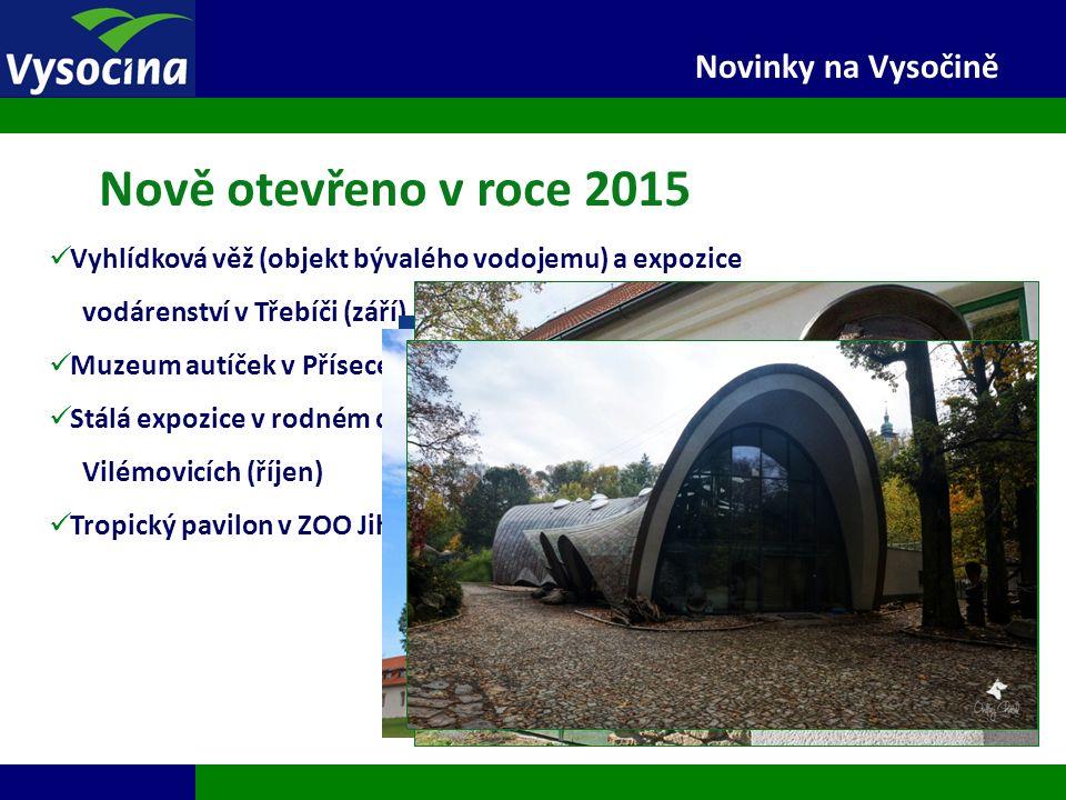 27.9.2016 4 Novinky na Vysočině Nově otevřeno v roce 2015 Vyhlídková věž (objekt bývalého vodojemu) a expozice vodárenství v Třebíči (září) Muzeum aut