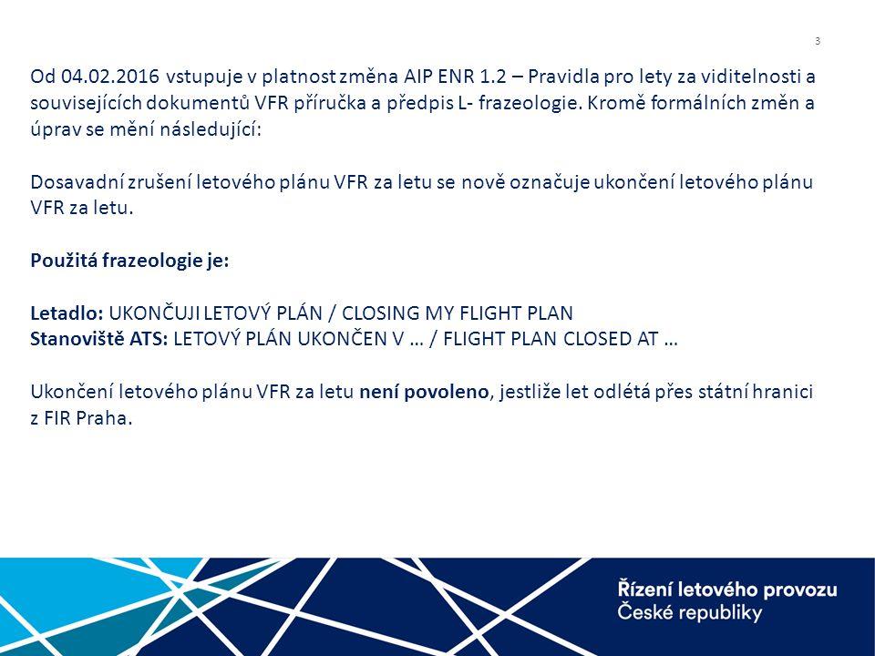 3 Od 04.02.2016 vstupuje v platnost změna AIP ENR 1.2 – Pravidla pro lety za viditelnosti a souvisejících dokumentů VFR příručka a předpis L- frazeologie.