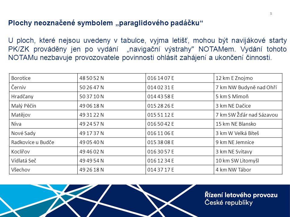 """5 Plochy neoznačené symbolem """"paraglidového padáčku U ploch, které nejsou uvedeny v tabulce, vyjma letišť, mohou být navijákové starty PK/ZK prováděny jen po vydání """"navigační výstrahy NOTAMem."""