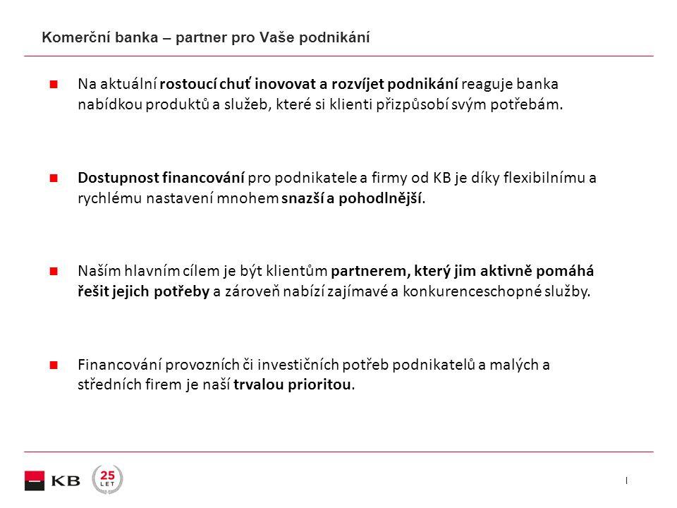 | Startovací úvěrové limity (kreditní karta, povolený debet) Podnikatelský úvěr Start (záruka EIF/ČMZRB) Grantové programy pro začínající firmy a podnikatele Podnikatelský úvěr Úvěr na investice Předfinancování EU dotací Příspěvek na úroky (podpora tuz.