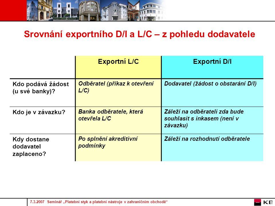 """7.3.2007 Seminář """"Platební styk a platební nástroje v zahraničním obchodě 9 Srovnání exportního D/I a L/C – z pohledu dodavatele Exportní L/CExportní D/I Kdo podává žádost (u své banky)."""