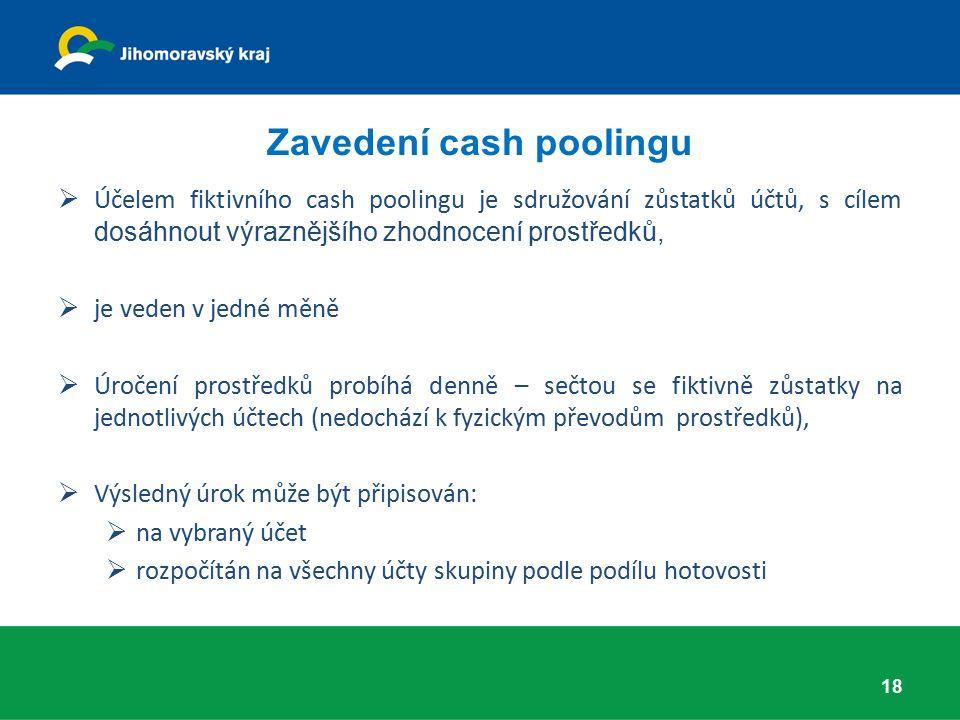 Zavedení cash poolingu  Účelem fiktivního cash poolingu je sdružování zůstatků účtů, s cílem dosáhnout výraznějšího zhodnocení prostředků,  je veden v jedné měně  Úročení prostředků probíhá denně – sečtou se fiktivně zůstatky na jednotlivých účtech (nedochází k fyzickým převodům prostředků),  Výsledný úrok může být připisován:  na vybraný účet  rozpočítán na všechny účty skupiny podle podílu hotovosti 18