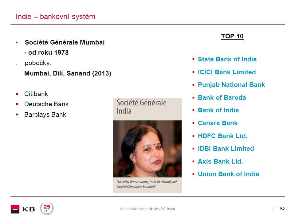 | Využití Trade Finance produktů při vývozu do Indie (Jak bezpečně profinancovat kontrakt?)  Záruky/protizáruky (guarantee/counterguarantee)  Dokumentární akreditivy (L/C at sight)  Indické akreditivy jsou složité, vyžadují často konzultaci s bankou, je požadováno velké množství dokumentů (zejména certifikátů, potvrzení o stáří lodi, potvrzení o kvalitě)  Dokumentární akreditivy s odloženou splatností (L/C with deferred payment) P.3Ministerstvo zahraničních věcí - Indie