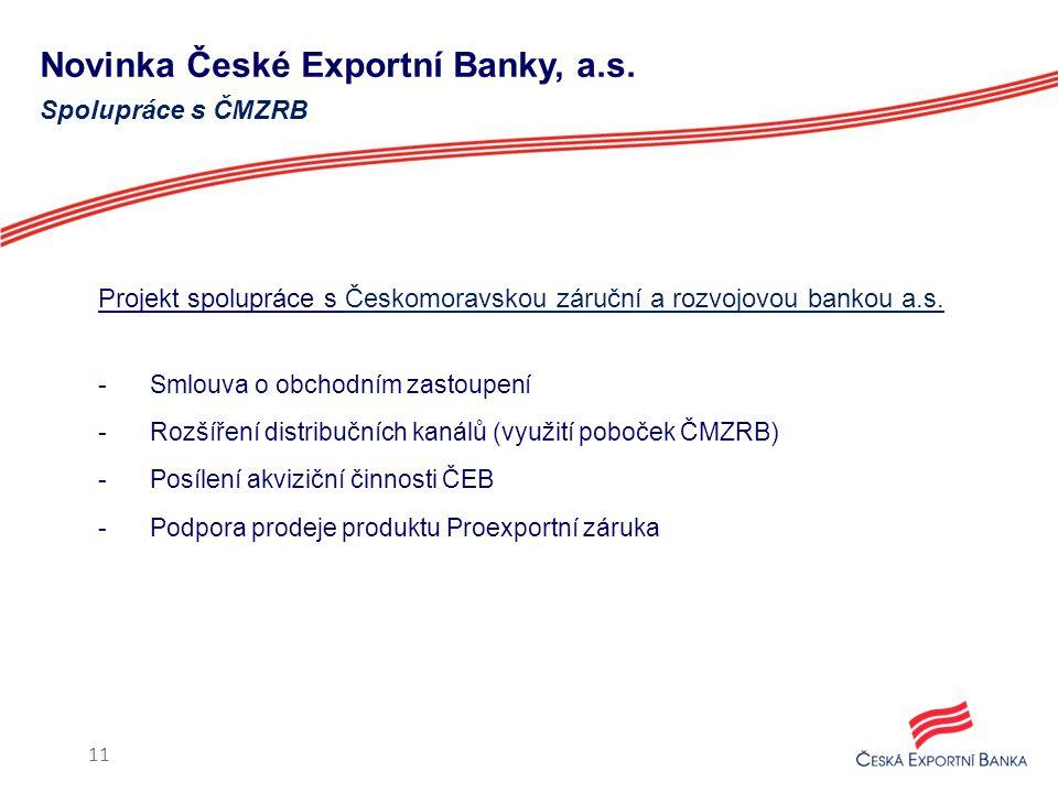Novinka České Exportní Banky, a.s. Projekt spolupráce s Českomoravskou záruční a rozvojovou bankou a.s. -Smlouva o obchodním zastoupení -Rozšíření dis