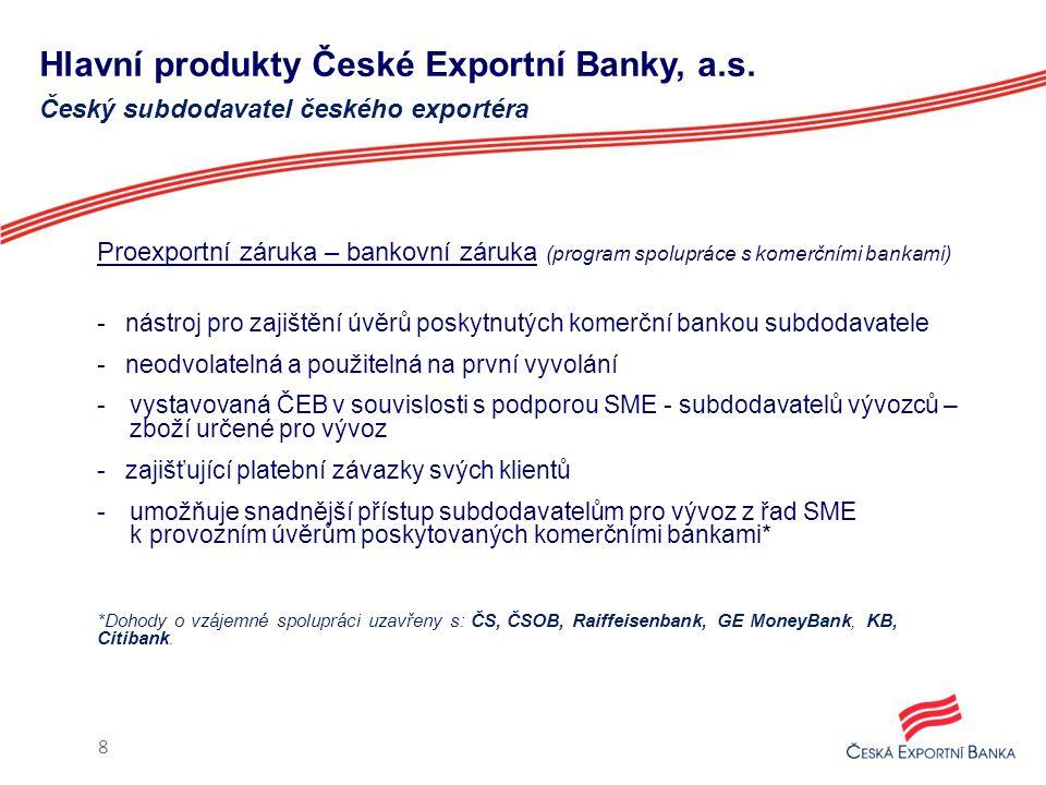Hlavní produkty České Exportní Banky, a.s. Proexportní záruka – bankovní záruka (program spolupráce s komerčními bankami) - nástroj pro zajištění úvěr