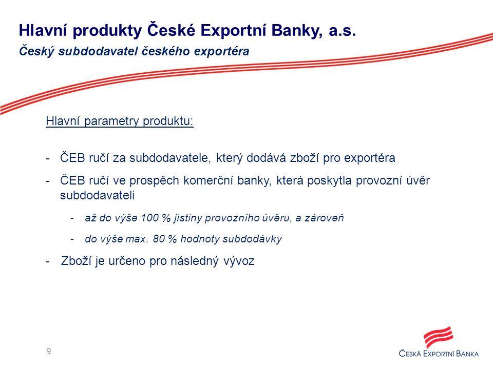 Hlavní produkty České Exportní Banky, a.s. Hlavní parametry produktu: -ČEB ručí za subdodavatele, který dodává zboží pro exportéra -ČEB ručí ve prospě
