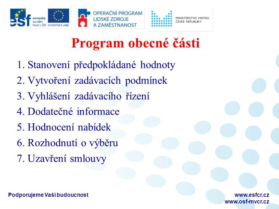 Program obecné části 1. Stanovení předpokládané hodnoty 2. Vytvoření zadávacích podmínek 3. Vyhlášení zadávacího řízení 4. Dodatečné informace 5. Hodn