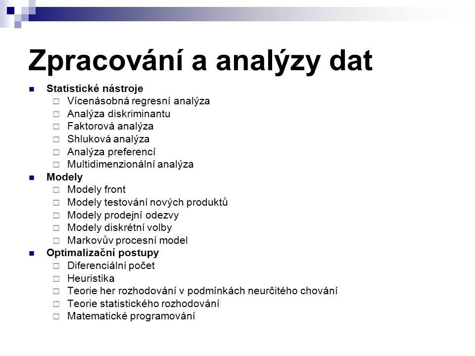 Zpracování a analýzy dat Statistické nástroje  Vícenásobná regresní analýza  Analýza diskriminantu  Faktorová analýza  Shluková analýza  Analýza