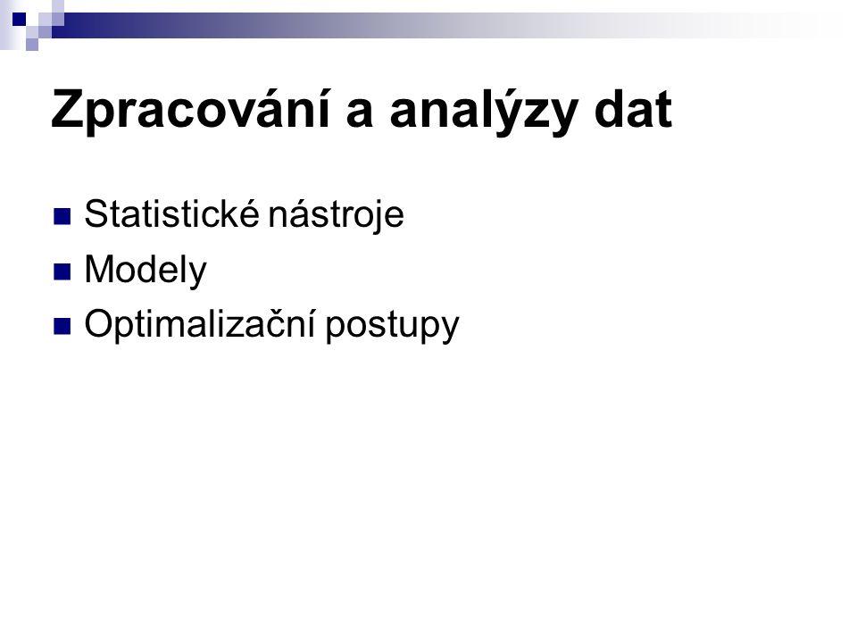 Zpracování a analýzy dat Statistické nástroje Modely Optimalizační postupy