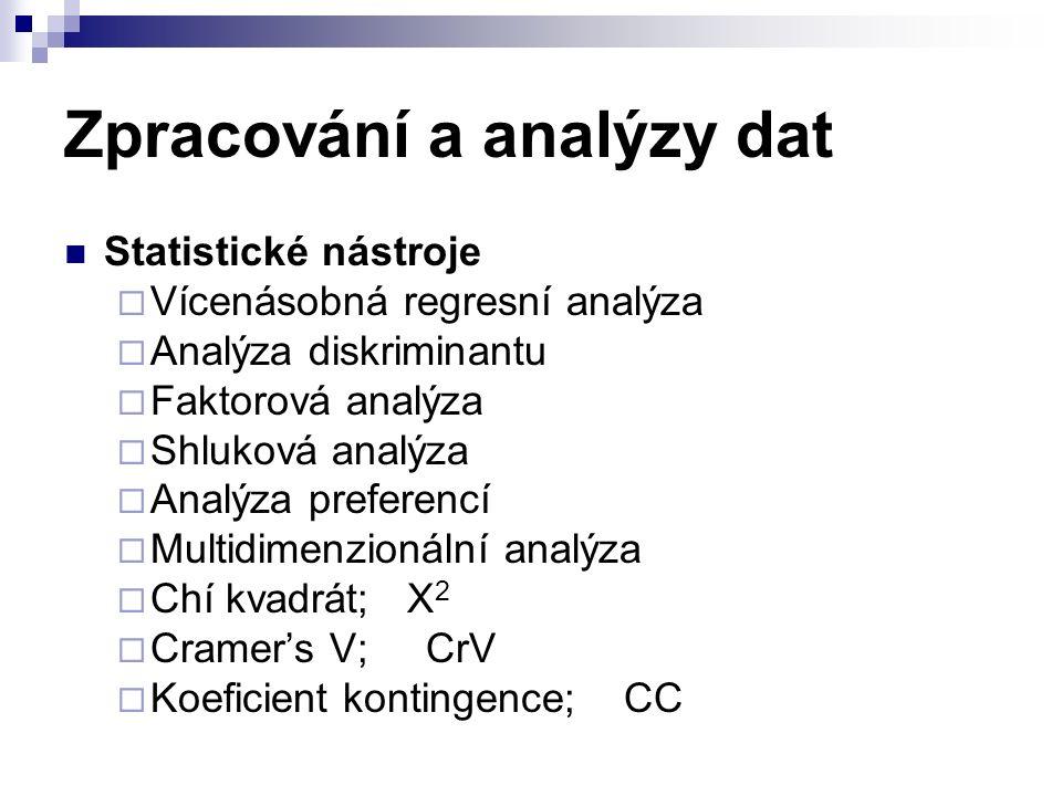 Zpracování a analýzy dat Statistické nástroje  Vícenásobná regresní analýza  Analýza diskriminantu  Faktorová analýza  Shluková analýza  Analýza preferencí  Multidimenzionální analýza  Chí kvadrát; X 2  Cramer's V; CrV  Koeficient kontingence; CC