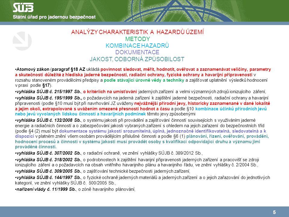 Atomový zákon (paragraf §18 AZ ukládá povinnost sledovat, měřit, hodnotit, ověřovat a zaznamenávat veličiny, parametry a skutečnosti důležité z hlediska jaderné bezpečnosti, radiační ochrany, fyzické ochrany a havarijní připravenosti v rozsahu stanoveném prováděcími předpisy a podle stávající úrovně vědy a techniky a zajišťovat uplatnění výsledků hodnocení v praxi podle §17).