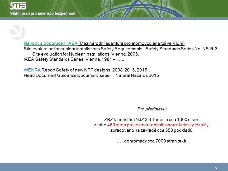 Návody a doporučení IAEA (Mezinárodní agentura pro atomovou energii ve Vídni) Site evaluation for nuclear installations Safety Requirements.