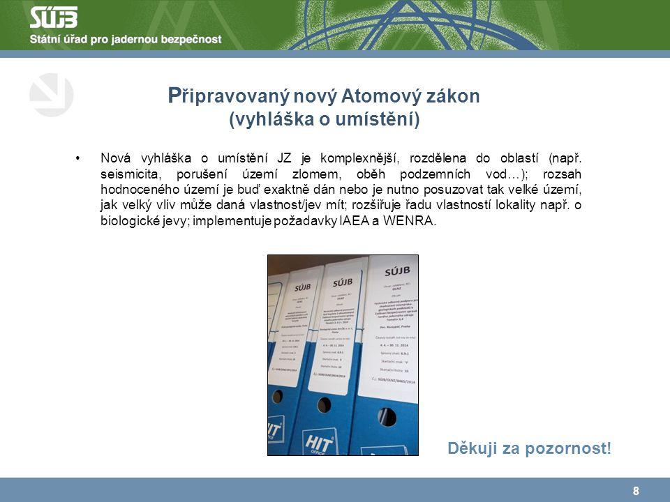 P řipravovaný nový Atomový zákon (vyhláška o umístění) Nová vyhláška o umístění JZ je komplexnější, rozdělena do oblastí (např.