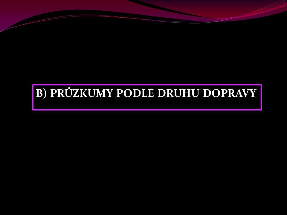 B) PRŮZKUMY PODLE DRUHU DOPRAVY