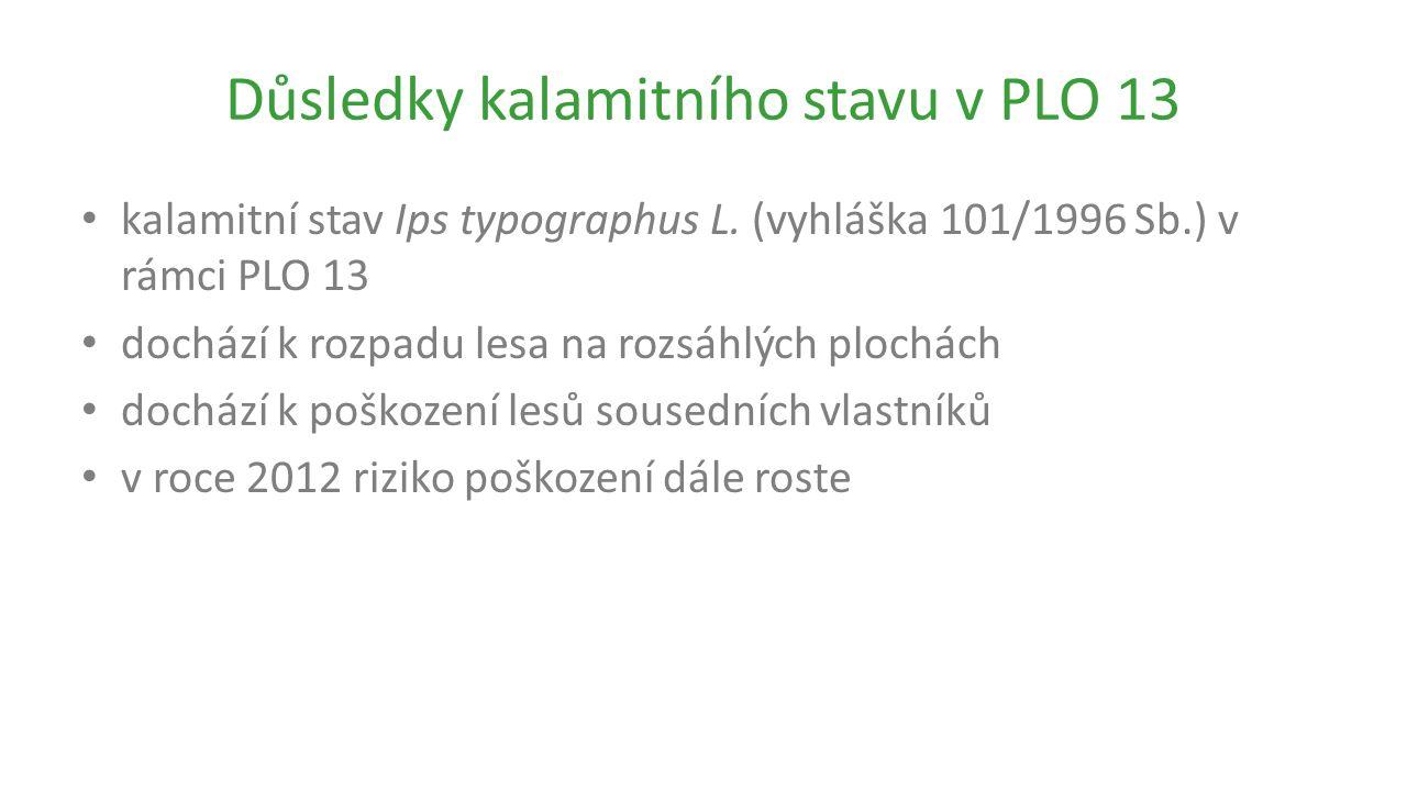 Důsledky kalamitního stavu v PLO 13 kalamitní stav Ips typographus L.