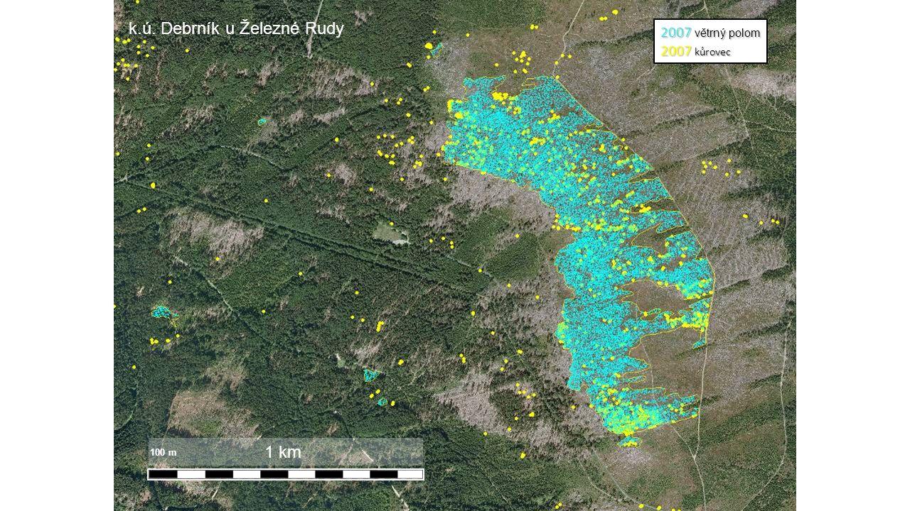 2007 větrný polom 2007 kůrovec 1 km 100 m k.ú. Debrník u Železné Rudy