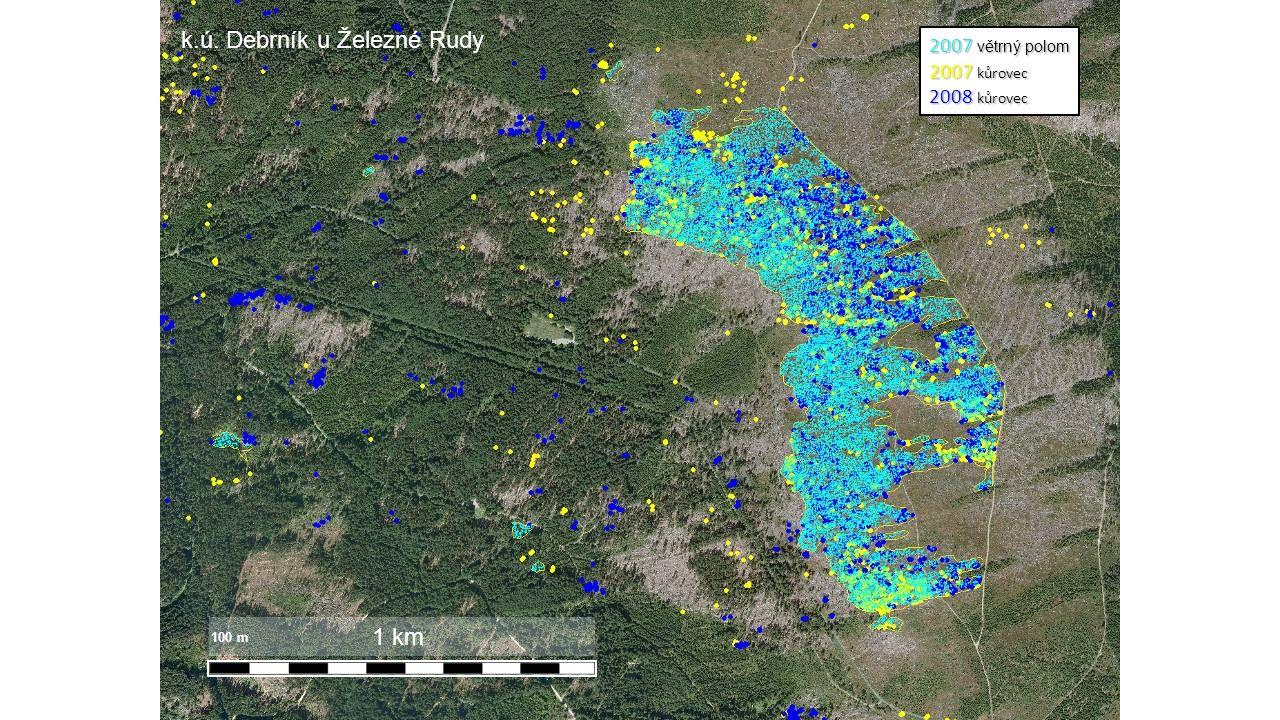 2007 větrný polom 2007 kůrovec 2008 kůrovec 1 km 100 m k.ú. Debrník u Železné Rudy