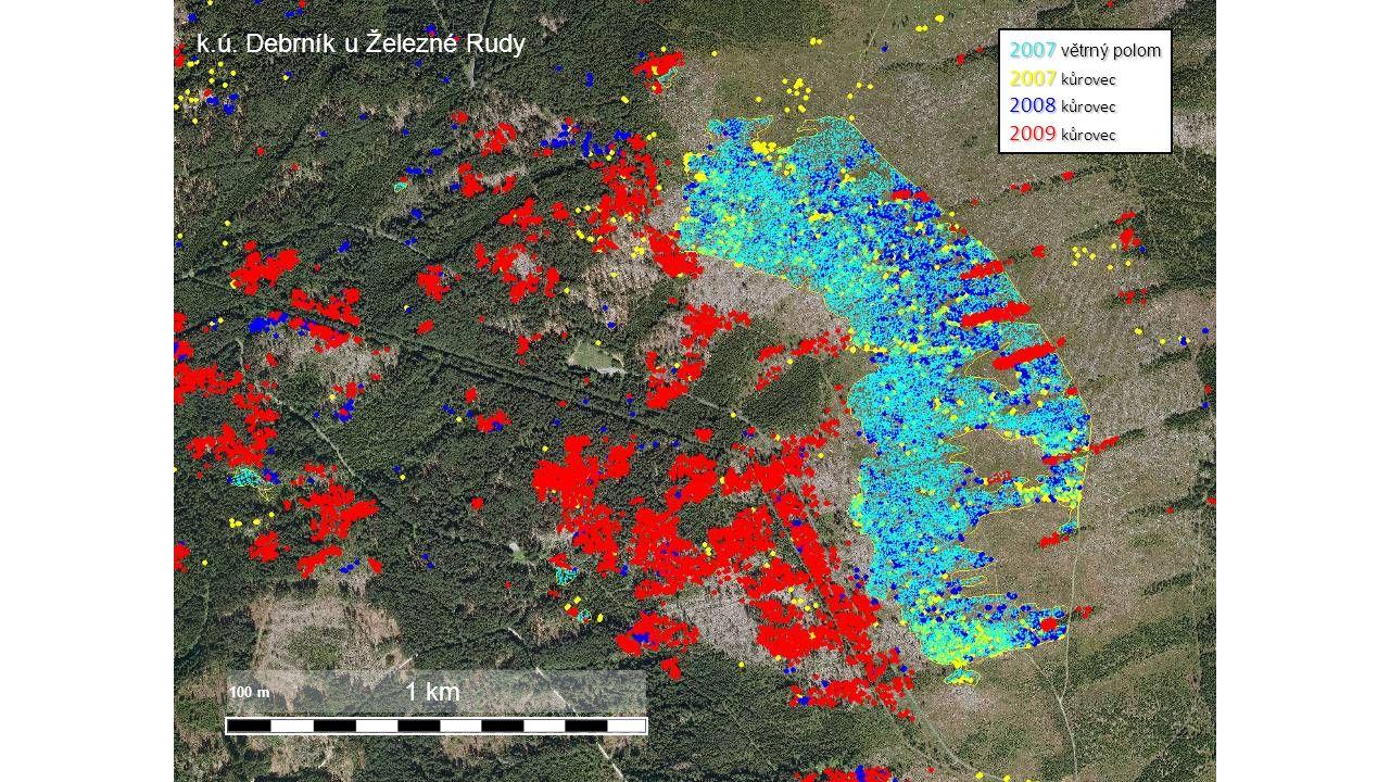 1 km 2007 větrný polom 2007 kůrovec 2008 kůrovec 2009 kůrovec 100 m k.ú. Debrník u Železné Rudy