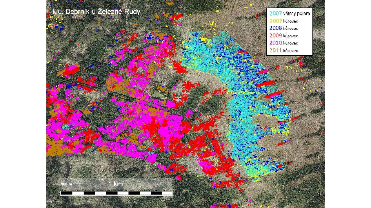 2007 větrný polom 2007 kůrovec 2008 kůrovec 2009 kůrovec 2010 kůrovec 2011 kůrovec 1 km 100 m k.ú.