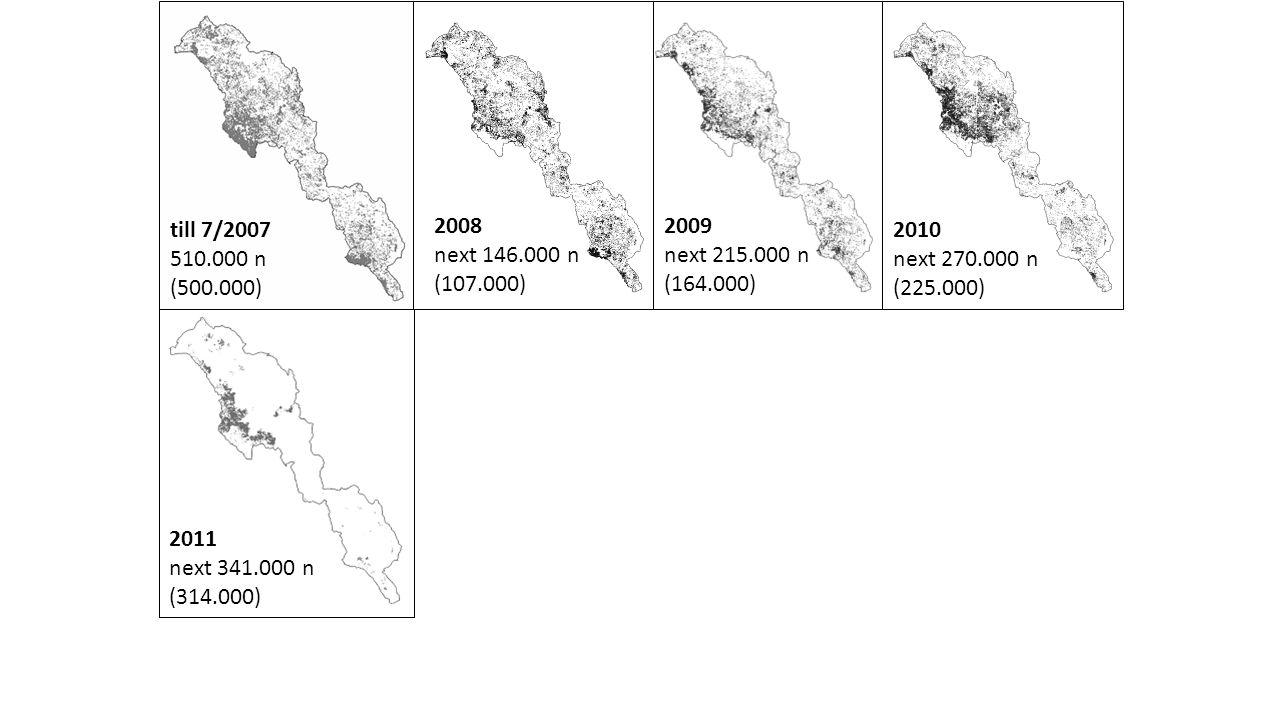till 7/2007 510.000 n (500.000) 2008 next 146.000 n (107.000) 2009 next 215.000 n (164.000) 2010 next 270.000 n (225.000) 2011 next 341.000 n (314.000)