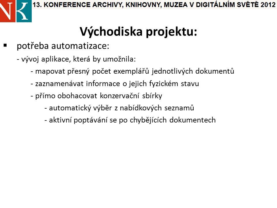 Východiska projektu:  potřeba automatizace: - vývoj aplikace, která by umožnila: - mapovat přesný počet exemplářů jednotlivých dokumentů - zaznamenávat informace o jejich fyzickém stavu - přímo obohacovat konzervační sbírky - automatický výběr z nabídkových seznamů - aktivní poptávání se po chybějících dokumentech