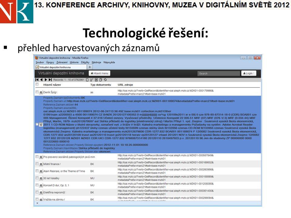 Technologické řešení:  přehled harvestovaných záznamů