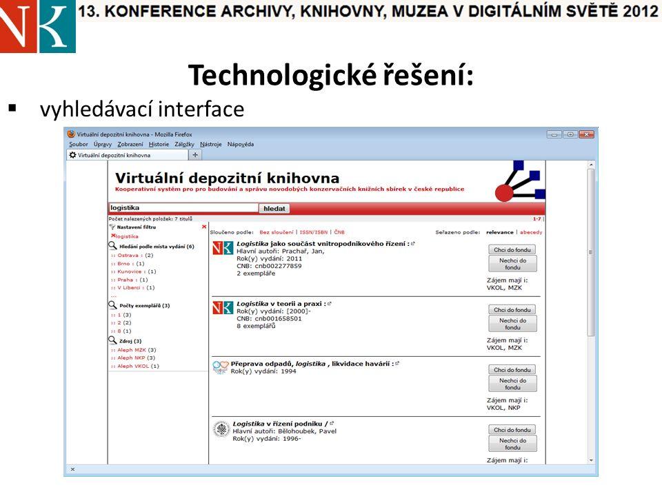 Technologické řešení:  vyhledávací interface