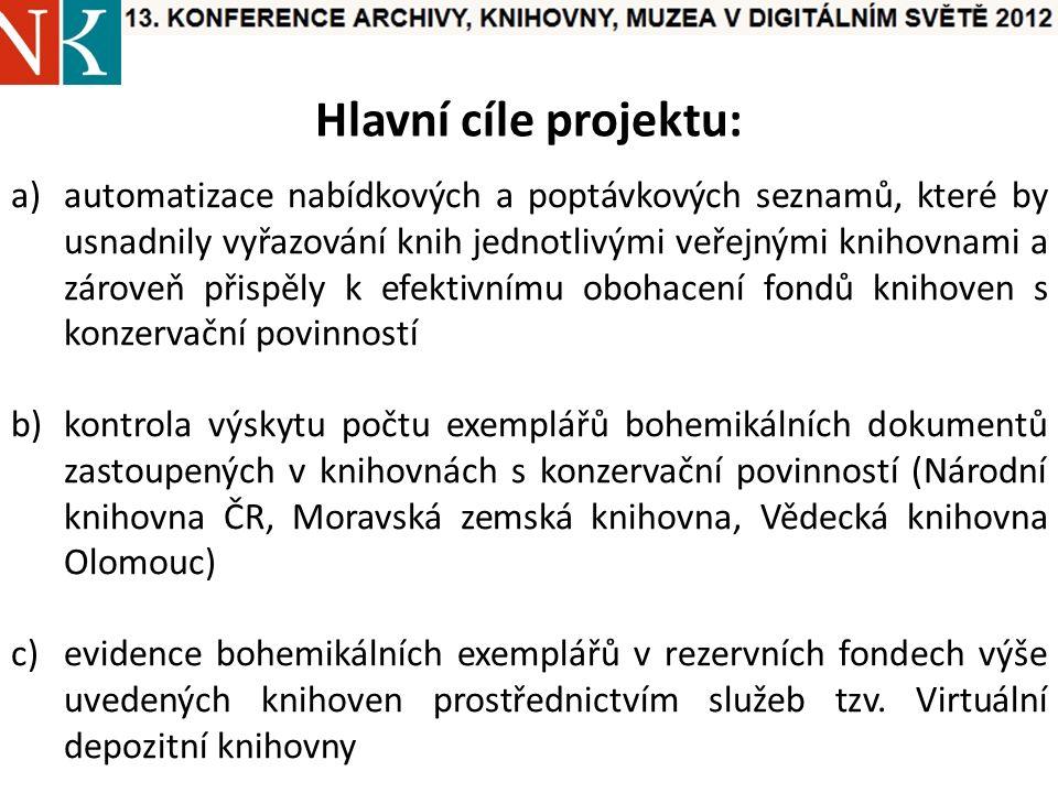 Hlavní cíle projektu: a)automatizace nabídkových a poptávkových seznamů, které by usnadnily vyřazování knih jednotlivými veřejnými knihovnami a zároveň přispěly k efektivnímu obohacení fondů knihoven s konzervační povinností b)kontrola výskytu počtu exemplářů bohemikálních dokumentů zastoupených v knihovnách s konzervační povinností (Národní knihovna ČR, Moravská zemská knihovna, Vědecká knihovna Olomouc) c)evidence bohemikálních exemplářů v rezervních fondech výše uvedených knihoven prostřednictvím služeb tzv.