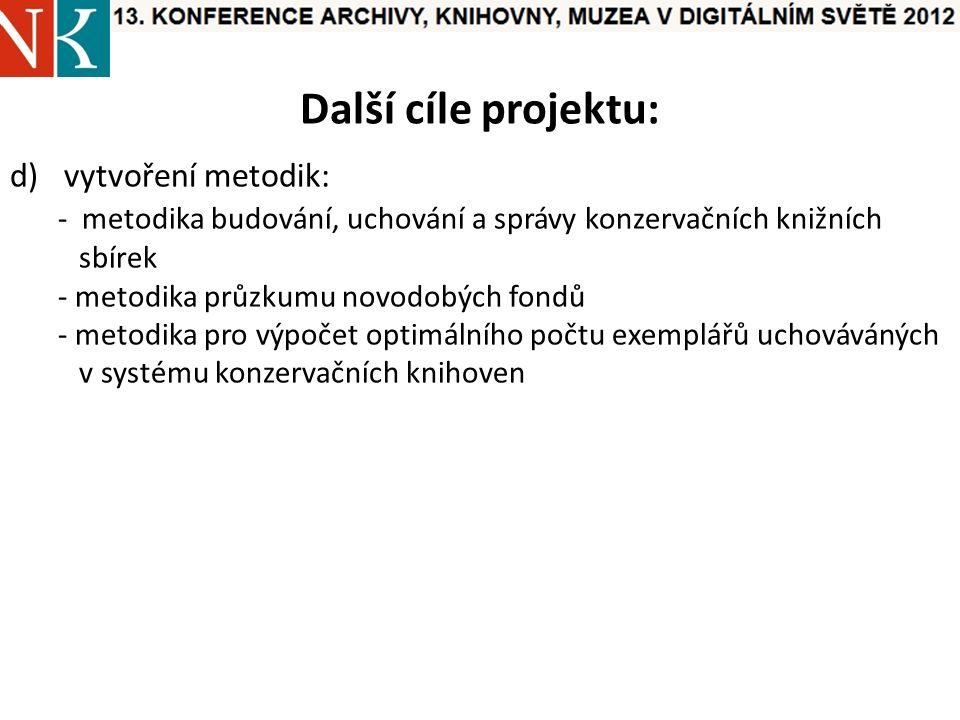 Další cíle projektu: d)vytvoření metodik: - metodika budování, uchování a správy konzervačních knižních sbírek - metodika průzkumu novodobých fondů - metodika pro výpočet optimálního počtu exemplářů uchováváných v systému konzervačních knihoven