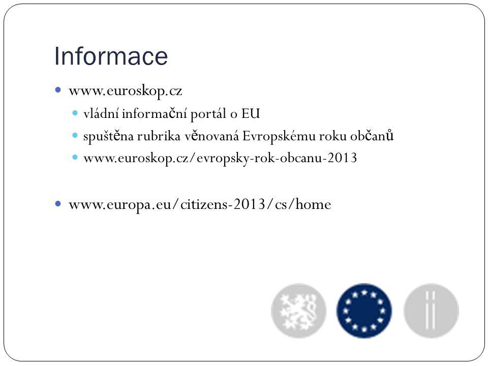Informace www.euroskop.cz vládní informa č ní portál o EU spušt ě na rubrika v ě novaná Evropskému roku ob č an ů www.euroskop.cz/evropsky-rok-obcanu-2013 www.europa.eu/citizens-2013/cs/home