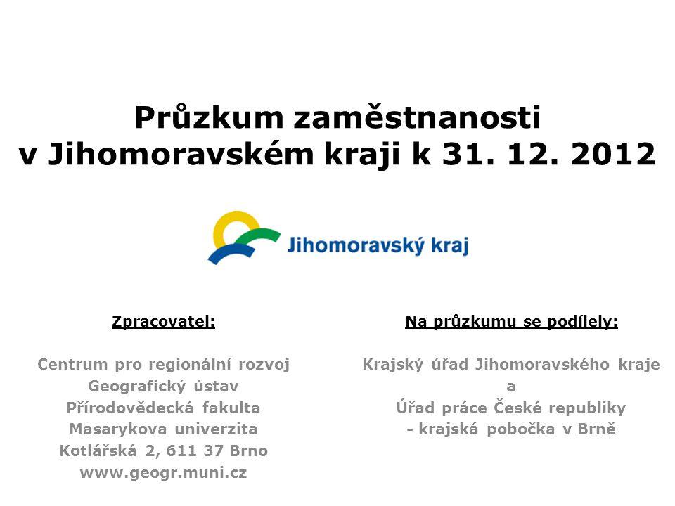 Průzkum zaměstnanosti v Jihomoravském kraji k 31. 12. 2012 Zpracovatel: Centrum pro regionální rozvoj Geografický ústav Přírodovědecká fakulta Masaryk