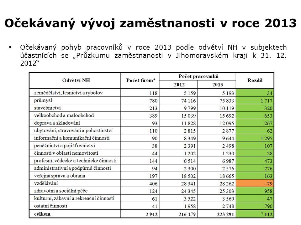 """Očekávaný vývoj zaměstnanosti v roce 2013  Očekávaný pohyb pracovníků v roce 2013 podle odvětví NH v subjektech účastnících se """"Průzkumu zaměstnanost"""